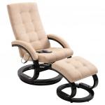 Fotel do masażu z podnóżkiem kremowy tkanina