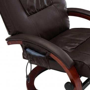 Fotel do masażu z podnóżkiem regulowany brązowy ekoskóra