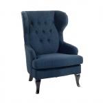 Fotel do salonu pikowany ciemnoniebieski Ventidue