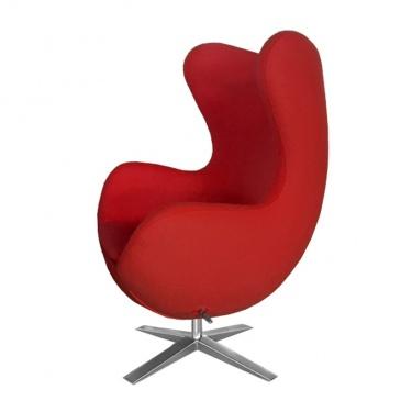Fotel EGG szeroki czerwony.1 - wełna kaszmirowa, podstawa stal