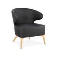 Fotel Kokoon Design Michel czarny ekoskóra nogi drewniane