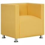 Fotel kubik, żółty, poliester