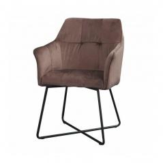 Fotel Loft Invicta Interior brązowy aksamit metal