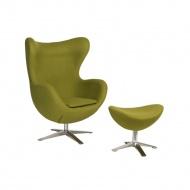 Fotel + podnóżek wełna 82x110x74cm D2 Jajo oliwkowy