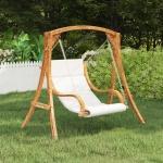 Fotel powieszany, kremowa poduszka, świerk w kolorze teku