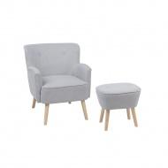 Fotel szary z hokerem tapicerowany TUMBA
