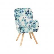 Fotel tapicerowany niebieski w kwiaty Pappagallo BLmeble