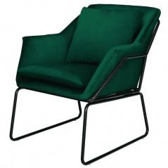 Fotel welurowy Moos Home FLUENCE ciemna zieleń