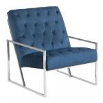 Fotel welurowy niebieski HARSTAD