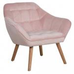 Fotel welurowy różowy KARIS
