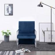 Fotel z chromowanym nóżkami, niebieski, aksamit