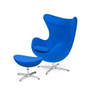 Fotel z podnóżkiem 83x107x72cm King Home Egg chabrowy niebieski