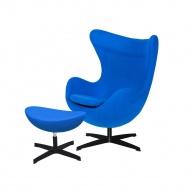 Fotel z podnóżkiem 83x107x72cm King Home Egg chabrowy niebieski/czarny