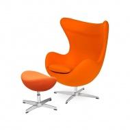 Fotel z podnóżkiem 83x107x72cm King Home Egg marchewkowy