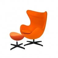 Fotel z podnóżkiem 83x107x72cm King Home Egg marchewkowy/czarny