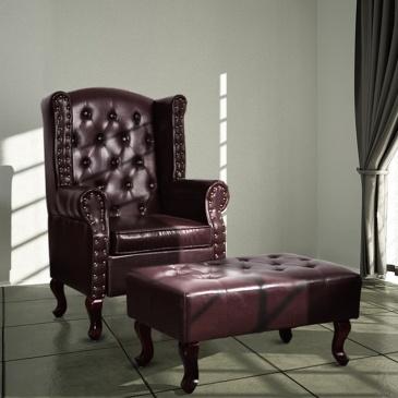 Fotel z podnóżkiem, skóra syntetyczna, ciemny brąz