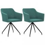 Fotele do salonu 2 szt. obrotowe zielone materiałowe