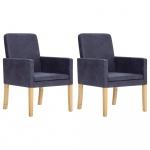 Fotele do salonu 2 szt. szare sztuczna skóra zamszowa