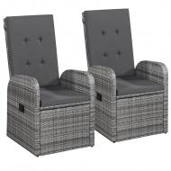 Fotele ogrodowe z polirattanu, 2 szt., 57 x 73 x 105 cm, szare