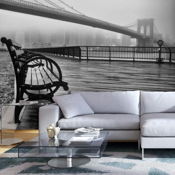 Fototapeta - A Foggy Day on the Brooklyn Bridge (300x210 cm) A0-XXLNEW011431