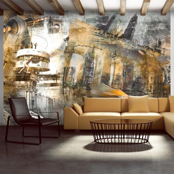 Fototapeta - Berlin - kolaż (pomarańczowy) (300x210 cm) A0-XXLNEW010159