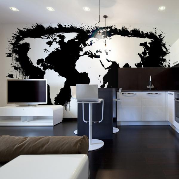Fototapeta - Białe kontynenty, czarne oceany... (450x270 cm) A0-F4TNT0093-P