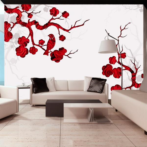 Fototapeta - Czerwony krzew (300x210 cm) A0-XXLNEW010294