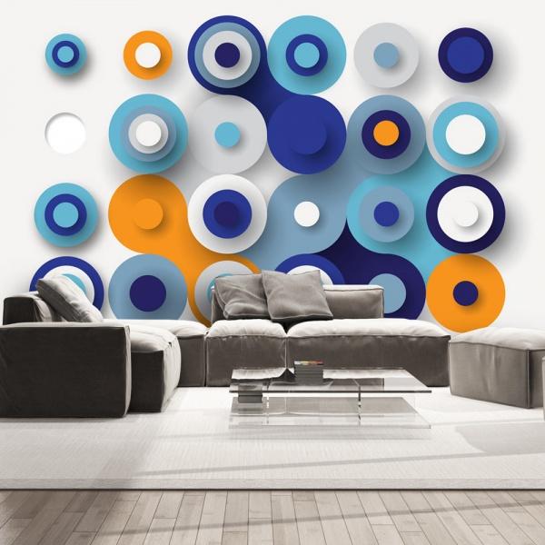 Fototapeta - Geometria niebieskiego koła (300x210 cm) A0-XXLNEW011492