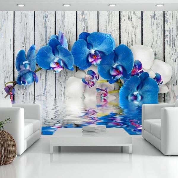 Fototapeta - Kobaltowa orchidea (300x210 cm) A0-XXLNEW010120