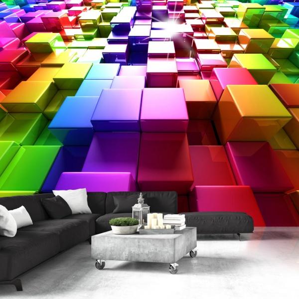 Fototapeta - Kolorowe sześciany (300x210 cm) A0-XXLNEW011490