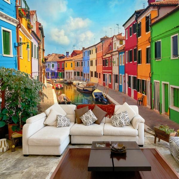 Fototapeta - Kolorowy kanał w Burano (300x210 cm) A0-XXLNEW011516
