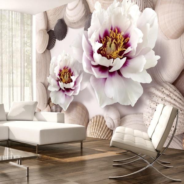 Fototapeta - Kwiaty i muszle (300x210 cm) A0-XXLNEW011486