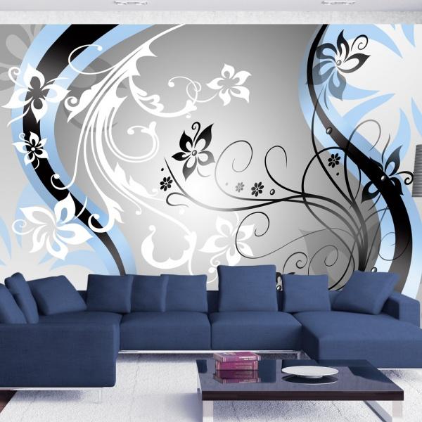 Fototapeta - Kwietne esy-floresy (niebieski) (300x210 cm) A0-XXLNEW010124