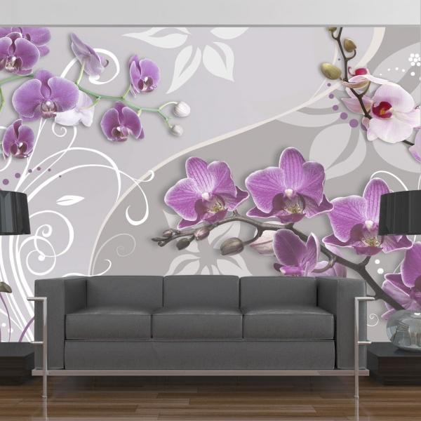 Fototapeta - Lot purpurowych orchidei (300x210 cm) A0-XXLNEW010173