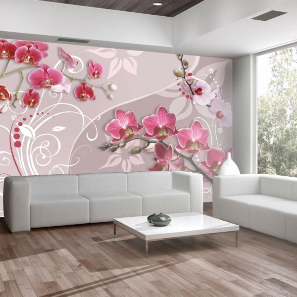 Fototapeta - Lot różowych orchidei (300x210 cm) A0-XXLNEW010190