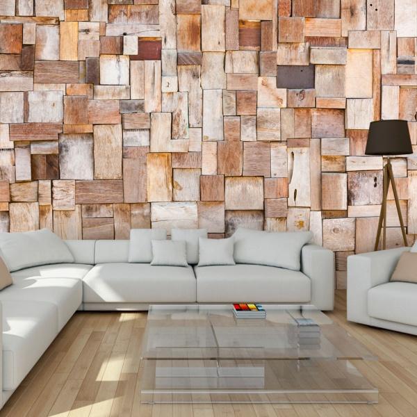 Fototapeta - Modrzewiowa mozaika (300x210 cm) A0-XXLNEW011009