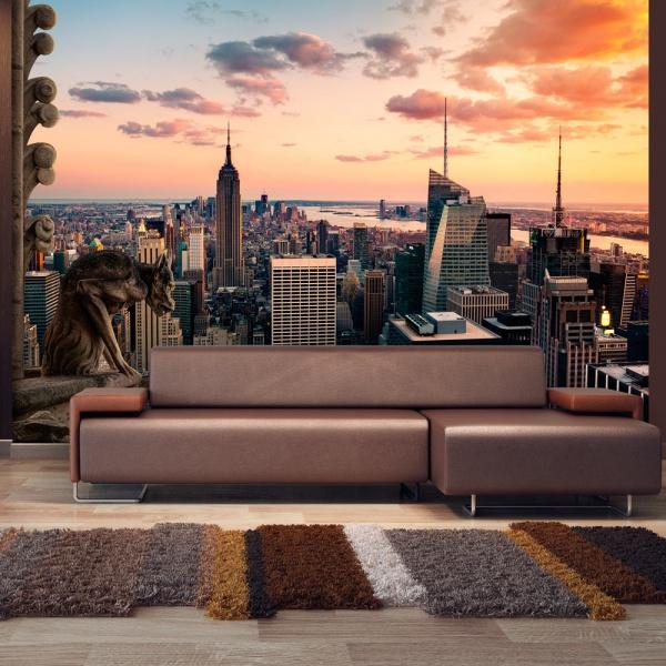 Fototapeta - Nowy Jork: wieżowce i zachód słońca (300x210 cm) A0-XXLNEW010789