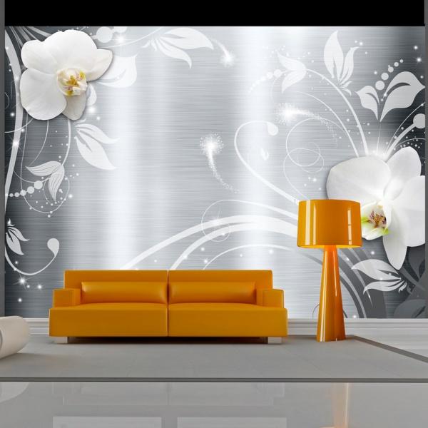 Fototapeta - Orchidee na stali (300x210 cm) A0-XXLNEW010856