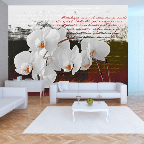 Fototapeta - Pamiętnik i orchidea (300x210 cm) A0-XXLNEW010122