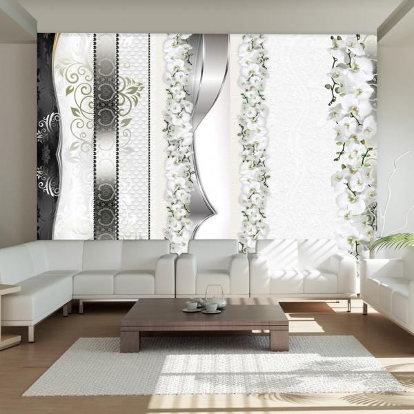 Fototapeta - Parada orchidei w odcieniach szarości (300x210 cm) A0-XXLNEW010405