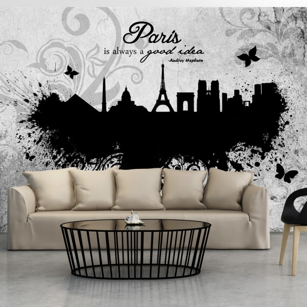 Fototapeta - Paris is always a good idea - black and white (300x210 cm) A0-XXLNEW010429