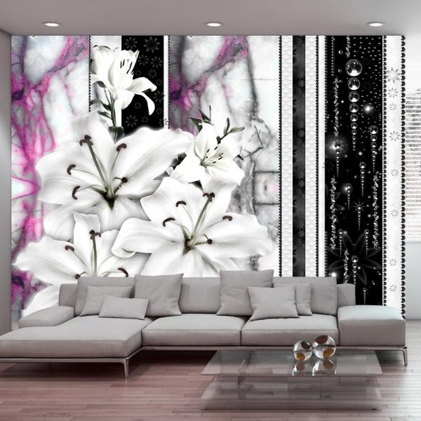 Fototapeta - Płaczące lilie na fioletowym marmurze (300x210 cm) A0-XXLNEW010390