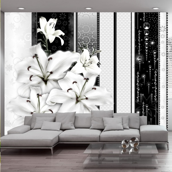 Fototapeta - Płaczące lilie w bieli (300x210 cm) A0-XXLNEW010389