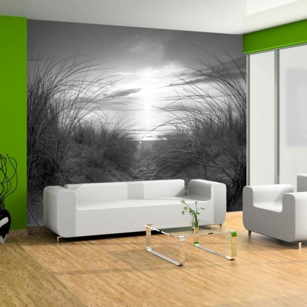 Fototapeta - plaża (czarno-biały) (300x210 cm) A0-XXLNEW01010