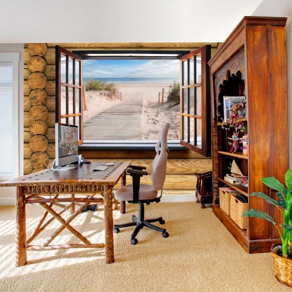 Fototapeta - Plaża za oknem (300x210 cm) A0-XXLNEW010910