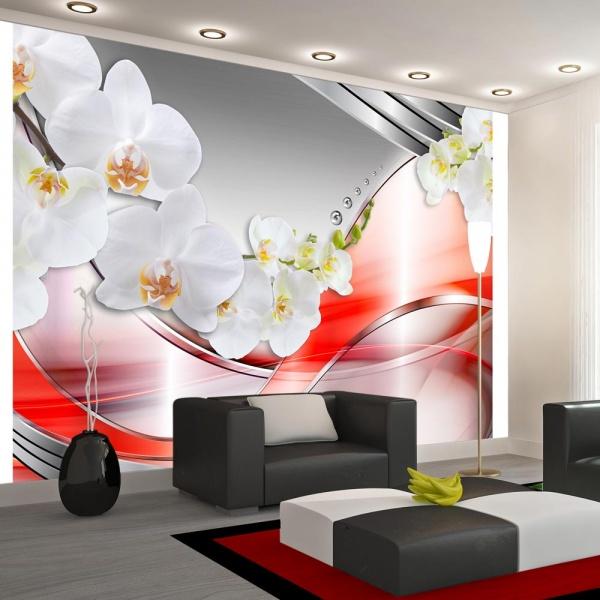 Fototapeta - Pomarańczowa fala orchidei (300x210 cm) A0-XXLNEW010354