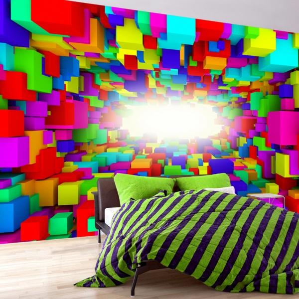 Fototapeta - Światło w geometrii koloru (300x210 cm) A0-XXLNEW011515
