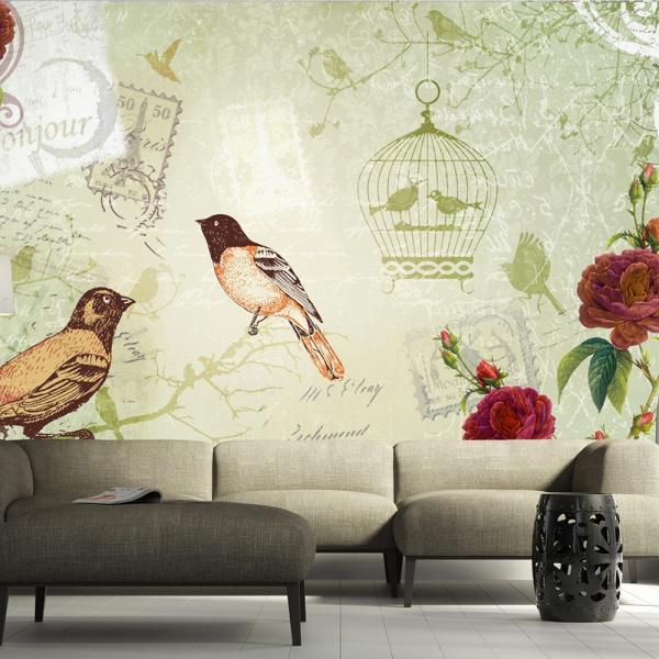 Fototapeta - Vintage birds (300x210 cm) A0-XXLNEW010163