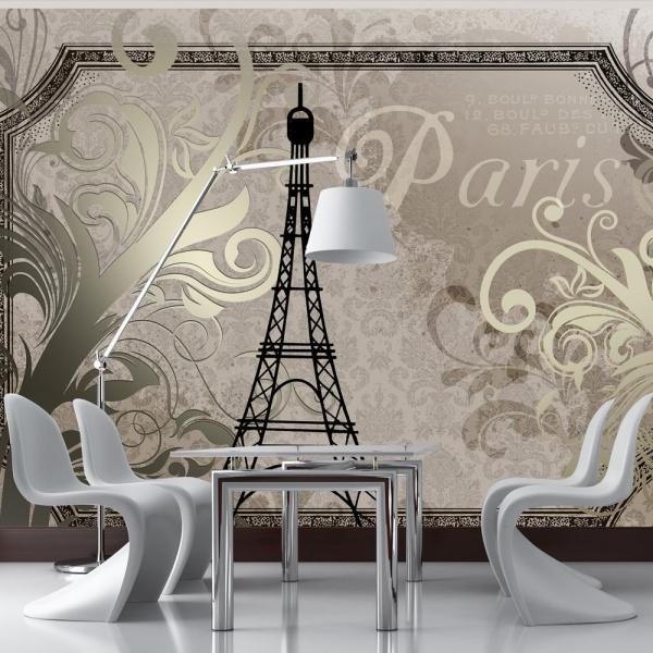 Fototapeta - Vintage Paris - złoty (300x210 cm) A0-XXLNEW010410