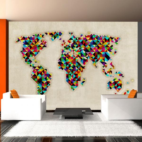 Fototapeta - World Map - a kaleidoscope of colors (200x154 cm) A0-LFTNT0462
